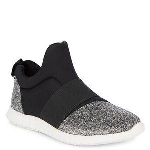 Steve Madden Iman Black and Silver Street Sneakers